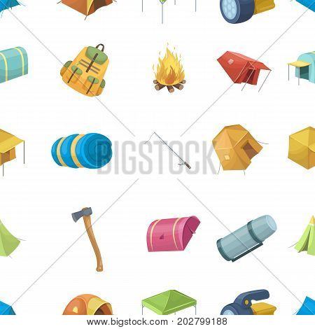 Various kinds of tents and other tourist accessories. The tent set collection icons in cartoon style vector symbol stock illustration .