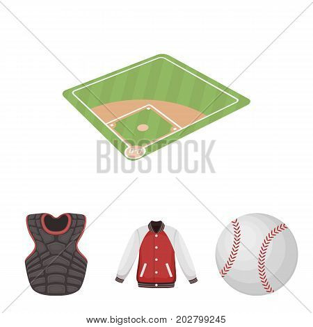 Playground, jacket, ball, protective vest. Baseball set collection icons in cartoon style vector symbol stock illustration .