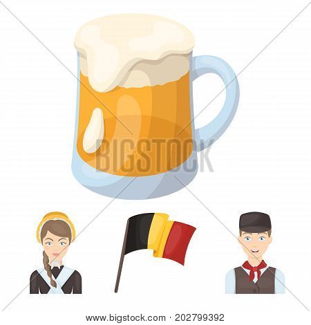 National flag, belgians and other symbols of the country.Belgium set collection icons in cartoon style vector symbol stock illustration .