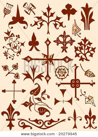 Ancient and medieval ornamental design elements set
