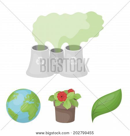 A processing plant, flowers in a pot, a green leaf, a planet Earth.Bio and ecology set collection icons in cartoon style vector symbol stock illustration .