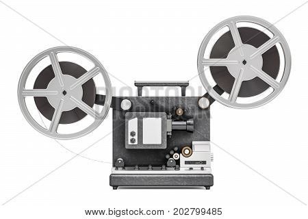 cinema projector side view 3D rendering isolated on white background