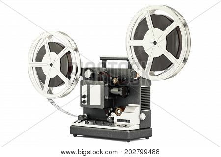 cinema projector with movie reels 3D rendering isolated on white background