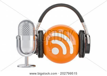 Headphones and mic with RSS logo podcast 3D rendering