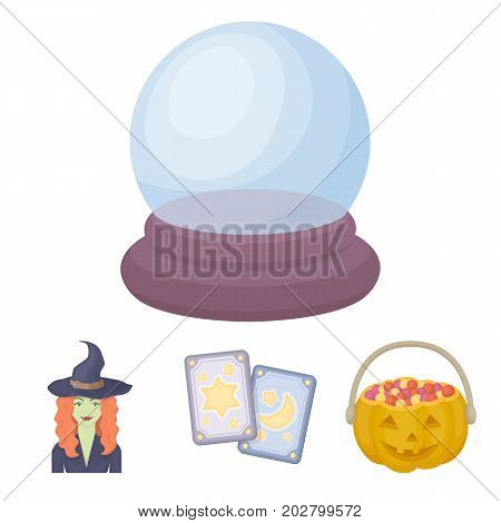 Tarot cards, holiday halloween, magician in a hat, crystal ball.Black and white magic set collection icons in cartoon style vector symbol stock illustration .