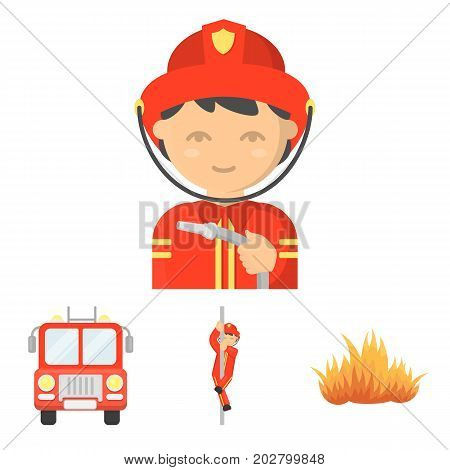 Fireman, flame, fire truck. Fire department set collection icons in cartoon style vector symbol stock illustration .