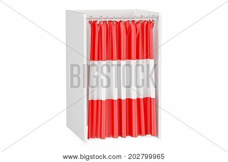 Vote in Austria concept voting booth with Austrian flag 3D rendering isolated on white background