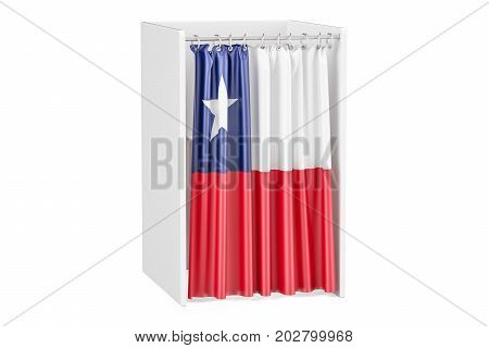 Vote in Chile concept voting booth with Chilean flag 3D rendering isolated on white background
