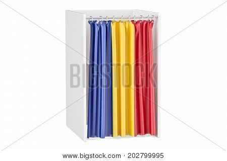 Vote in Romania concept voting booth with Romanian flag 3D rendering isolated on white background