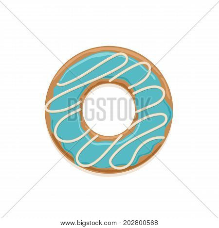 Vector icon of glazed donut with white chocolate stripes and blue cream