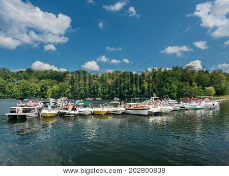 MORGANTOWN, WEST VIRGINIA, USA - SEPTEMBER 4:  Students and vacationers party on Cheat Lake on September 4, 2017 in Morgantown, WV. Labor Day is a big celebration on the lake.