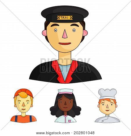 A nurse in a dressing gown, a cook in a hood, a builder in a helmet, a taxi driver in a cap. People of different professions set collection icons in cartoon style vector symbol stock illustration .