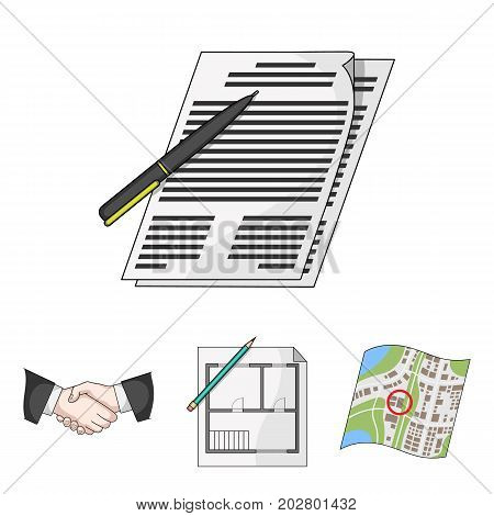 House plan, documents for signing, handshake, terrain plan. Realtor set collection icons in cartoon style vector symbol stock illustration .