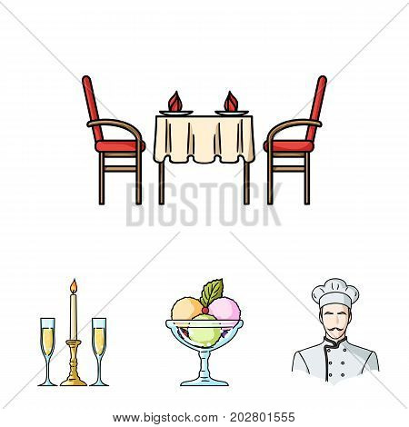 Ice cream with fruit, chef, candle and glasses, a covered table.Restaurant set collection icons in cartoon style vector symbol stock illustration .