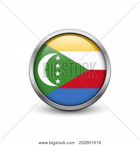 Flag of Comoros button with metal frame and shadow