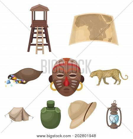 Rifle, mask, map of the territory, diamonds and other equipment. African safari set collection icons in cartoon style vector symbol stock illustration .