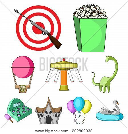 The amusement Park rides. The attributes of a recreational Park, panic room, cotton candy.Amusement Park icon in set collection on cartoon style vector symbol stock web illustration. poster