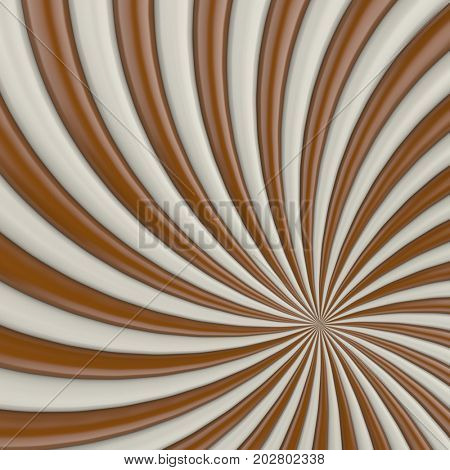 Chocolate and milk candy twist background. 3D illustration.