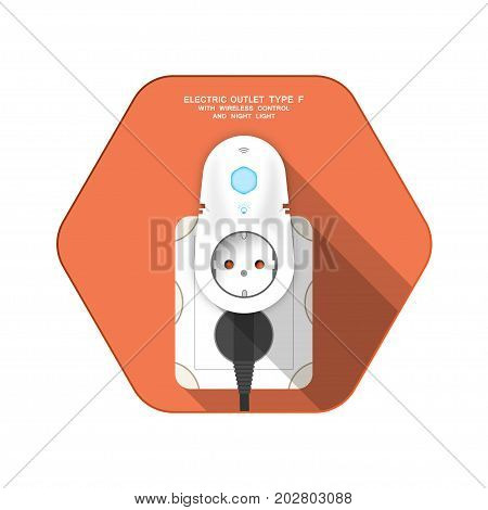 Vector isolated icon of white electric socket type F with insert timer with wireless control and plug on the red hexagon background with shadow for use in Europe.