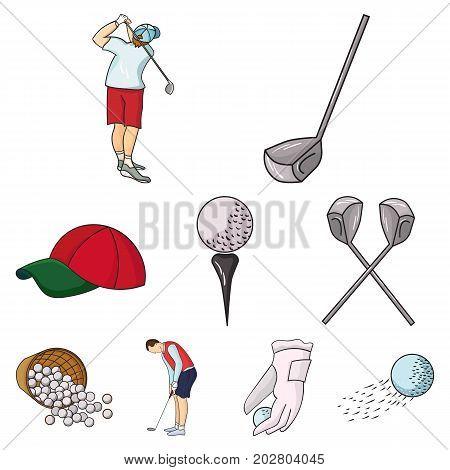 Golf club set icons in cartoon design. Big collection of golf club vector symbol stock illustration