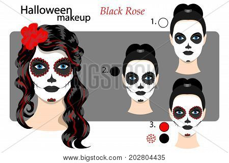 Drawing Technique Makeup Halloween Face Art Skull Mexican Style