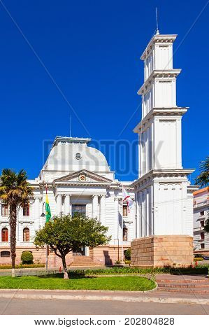 Supreme Court Of Bolivia In Sucre is located in Sucre the constitutional capital of Bolivia poster
