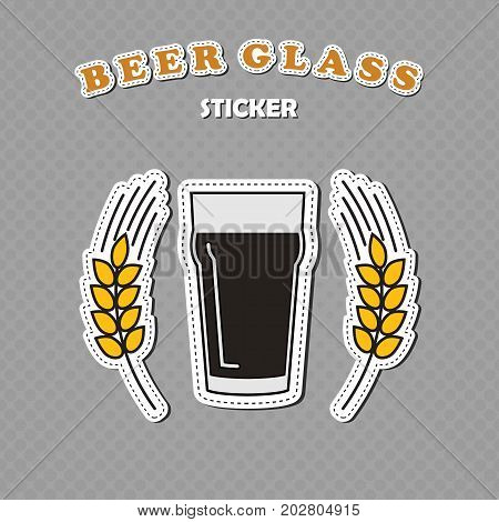 Nonic pint beer glass and two wheat spikes stickers beer logo vector illustration
