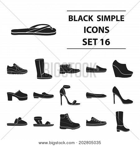 Shoes set icons in black style. Big collection shoes vector symbol stock