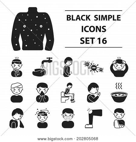 Sick set icons in black style. Big collection sick vector symbol stock