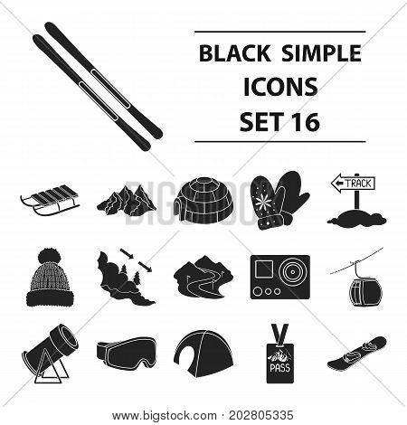 Ski resort set icons in black style. Big collection of ski resort vector symbol stock