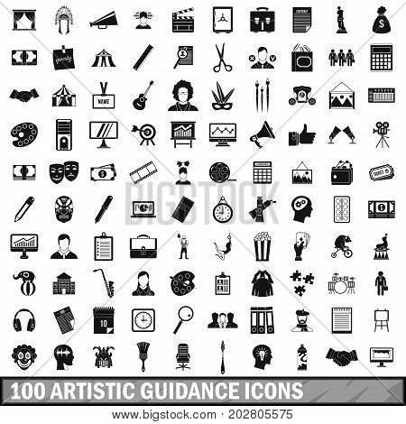 100 artistic guidance icons set in simple style for any design vector illustration