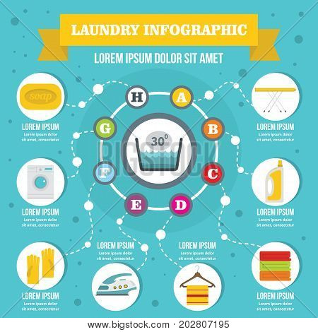 Laundry infographic banner concept. Flat illustration of laundry infographic vector poster concept for web