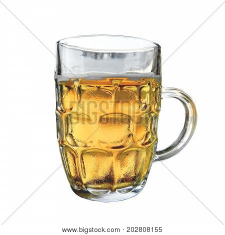 Cold beer mug with handle on white background
