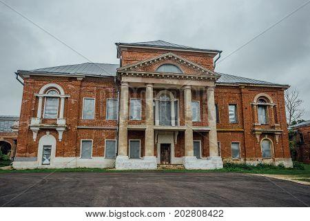 Abandoned former Nechaev's mansion in Polibino village in Lipetsk region