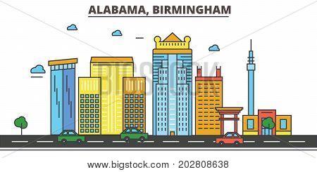 Alabama, Birmingham.City skyline, architecture, buildings, streets, silhouette, landscape, panorama, landmarks, icons. Editable strokes. Flat design line vector illustration concept.
