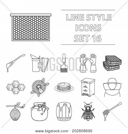 Apiary set icons in outline style. Big collection apiary vector symbol stock