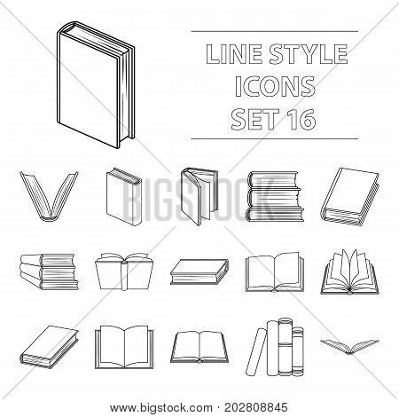 Books set icons in outline design. Big collection of books vector symbol stock illustration