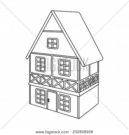 Stylized English cottage. Architectural cottage building single icon in outline style vector symbol stock illustration .
