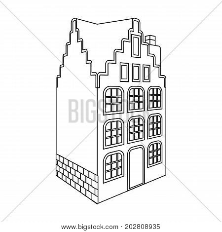 Traditional Scandinavian building. Architecture of the house single icon in outline style vector symbol stock illustration .