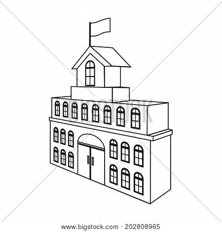 The building of the town hall. City Hall Building single icon in outline style vector symbol stock illustration .