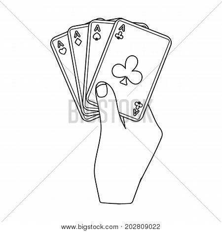 Combination of cards in hand. Playing cards single icon in outline style vector symbol stock illustration .