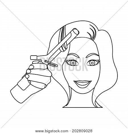Hair curling in the hairdresser. Curling Hair single icon in outline style vector symbol stock illustration .