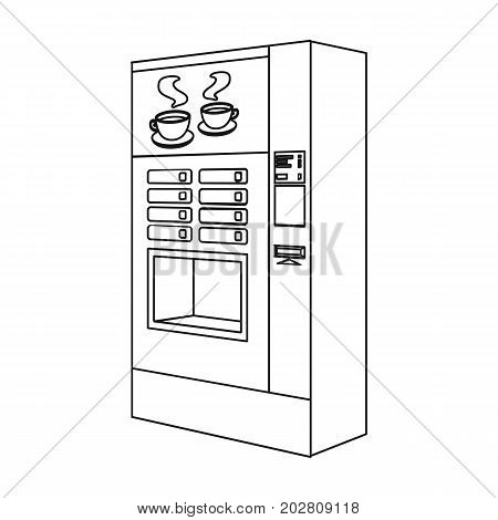 A machine for making coffee. Office equipment single icon in outline style Isometric vector symbol stock illustration .