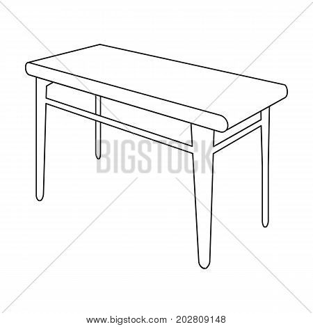 Wooden, dining table. Furniture and interior single icon in outline style Isometric vector symbol stock illustration .