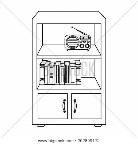 A bookcase with shelves and a radio receiver. Furniture and interior single icon in outline style Isometric vector symbol stock illustration .