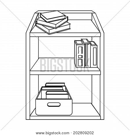 A rack with books and documents. Office furniture single icon in outline style Isometric vector symbol stock illustration .