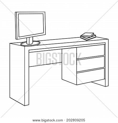A desk with a computer and books. Furniture and interior single icon in outline style Isometric vector symbol stock illustration .