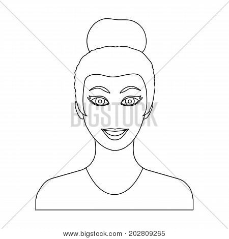 The face of a woman with a hairdo. Face and appearance single icon in outline style vector symbol stock illustration .