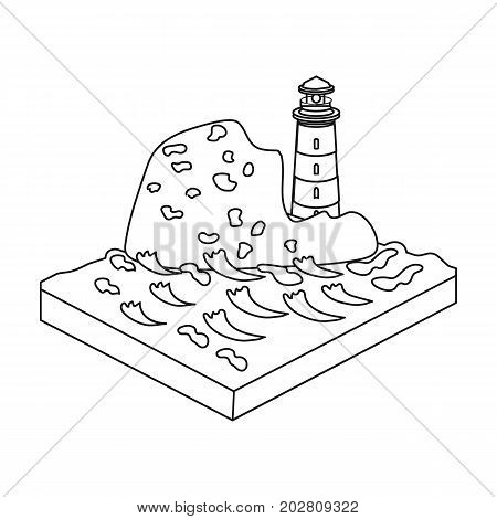 Mountains, lighthouse and Sea. Relief and mountains single icon in outline style isometric vector symbol stock illustration .