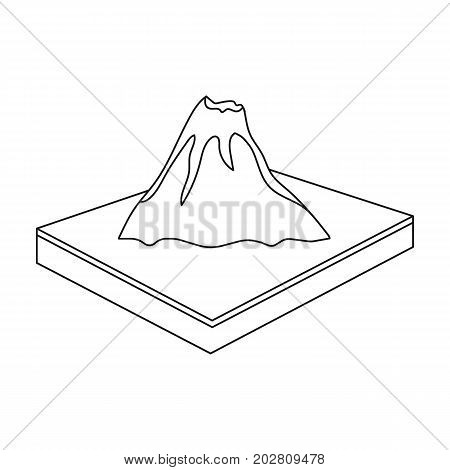 Mountains, volcanoand landscape. Relief and mountains single icon in outline style isometric vector symbol stock illustration .